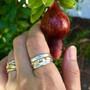 Washi Double Band Ring on hand, Modern Jewelry by Keiko Mita