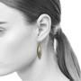 Moire Willow Leaf Earrings on model, Modern Jewelry by Keiko Mita