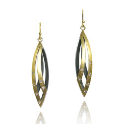 Moire Willow Leaf Earrings, Modern Jewelry by Keiko Mita