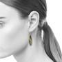 Moire leaf Earrings on model, Modern Jewelry by Keiko Mita