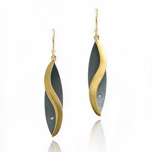 Moire leaf Earrings, Modern Jewelry by Keiko Mita