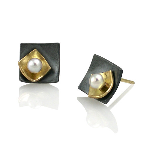 Moire Mini Square Stud Earrings, Modern Jewelry by Keiko Mita