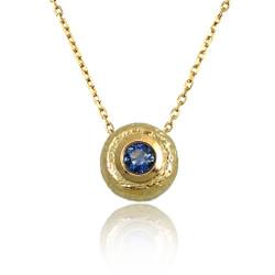 Washi Mini Round Pendant, Blue Sapphire, Modern Jewelry by Keiko Mita