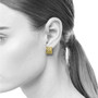 Sand Dune Rectangular Puzzle Earrings on model, Fine Art Jewelry by Keiko Mita