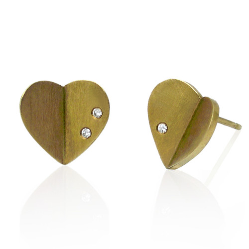 Origami Heart Studs, 14K Yellow, Modern Art Jewelry by Keiko Mita