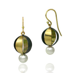 Moire Spherical Earrings, Modern Jewelry by Keiko Mita