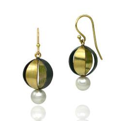 Moire Spherical Earrings, Modern Jewelry by Keiko Mita
