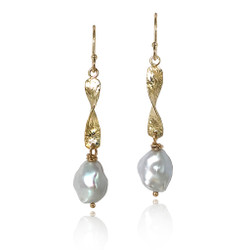 Washi Gold Textured Pearl Earrings by Keiko Mita