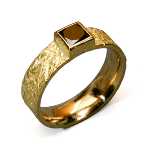 Textured Band Ring with Black Diamond, Handmade Modern Jewelry by Liaung-Chung Yen