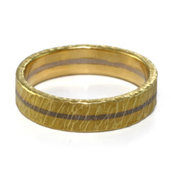 Two Tone Textured Band Ring 5.0, Handmade Modern Jewelry by Liaung-Chung Yen