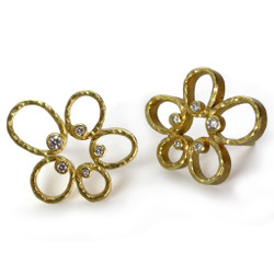 Open Frame Flower Earrings, Modern Art Jewelry by Liaung-Chung Yen
