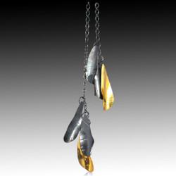 Black and Gold Curly Bark Lariat, Handmade Art Jewelry by Lori Gottlieb