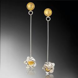 Long Desert Rose Earrings, Handmade Art Jewelry by Lori Gottlieb
