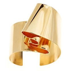 Gold Plated Double Fold Cuff from Mia Hebib's Brass Band Collection | Modern Art Jewelry