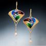 Golden Fan Earrings, Modern Art Jewelry by Sheila Beatty