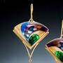 Golden Fan Earrings on model, Modern Art Jewelry by Sheila Beatty