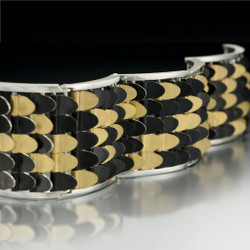 Contemporary Fishscale Bracelet by Samantha Freeman | Sterling Silver and 24 Karat Gold Vermeil
