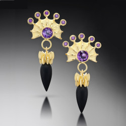 Samantha Freeman's Modern Firework Earrings | 18 Karat Yellow Gold | Amethyst and Onyx