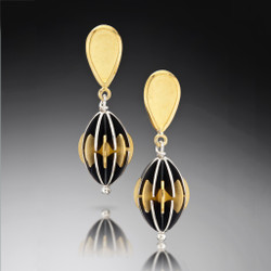 Samantha Freeman's Unique Opera Earrings | Oxidized Sterling Silver and 18 Karat Gold Vermeil