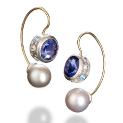 Jemloch Night Earrings by Samantha Freeman | Iiolite and Freshwater Pearl | Modern Art Jewelry