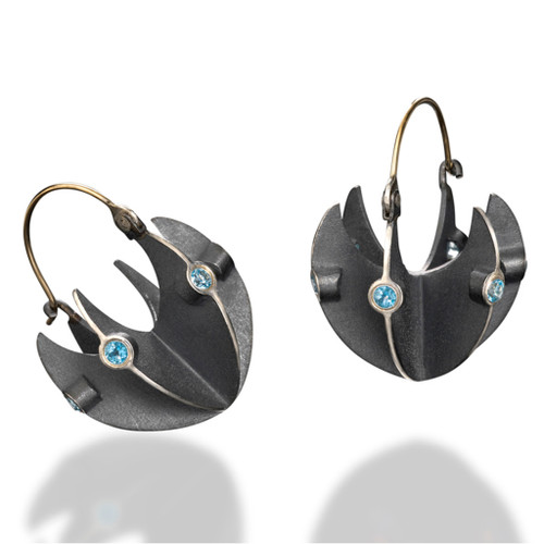 Unique Basket Earrings by Samantha Freeman | 14 Karat Yellow Gold and Oxidized Sterling Silver | Blue Topaz