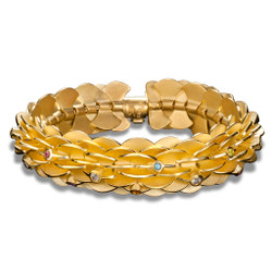 Gold Pangolin Bracelet by Samantha Freeman | 24 Karat Gold Vermeil | Gemstones