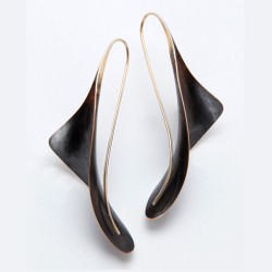 Flared Bronze Dangle Earrings by Nancy Linkin,  Modern Jewelry