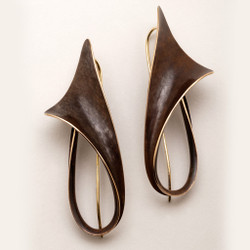 Flared Bronze Earrings by Nancy Linkin, Modern Art Jewelry