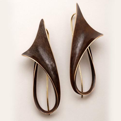 Flared Bronze Earrings by Nancy Linkin, Modern Art Jewelry