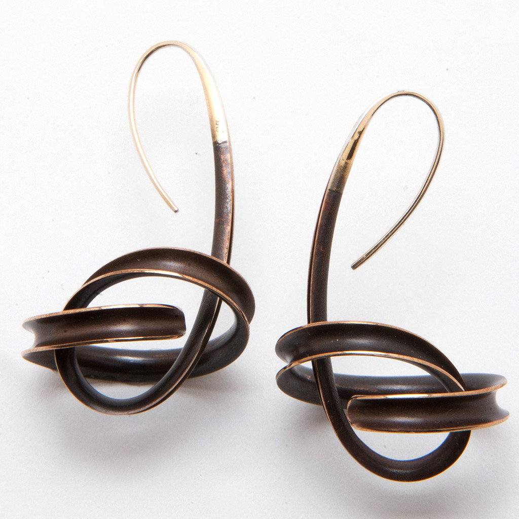 2bdc78c40 Spiral Bronze Dangle Earrings on Model by Nancy Linkin, Unique Modern  Jewelry. See 1 more picture
