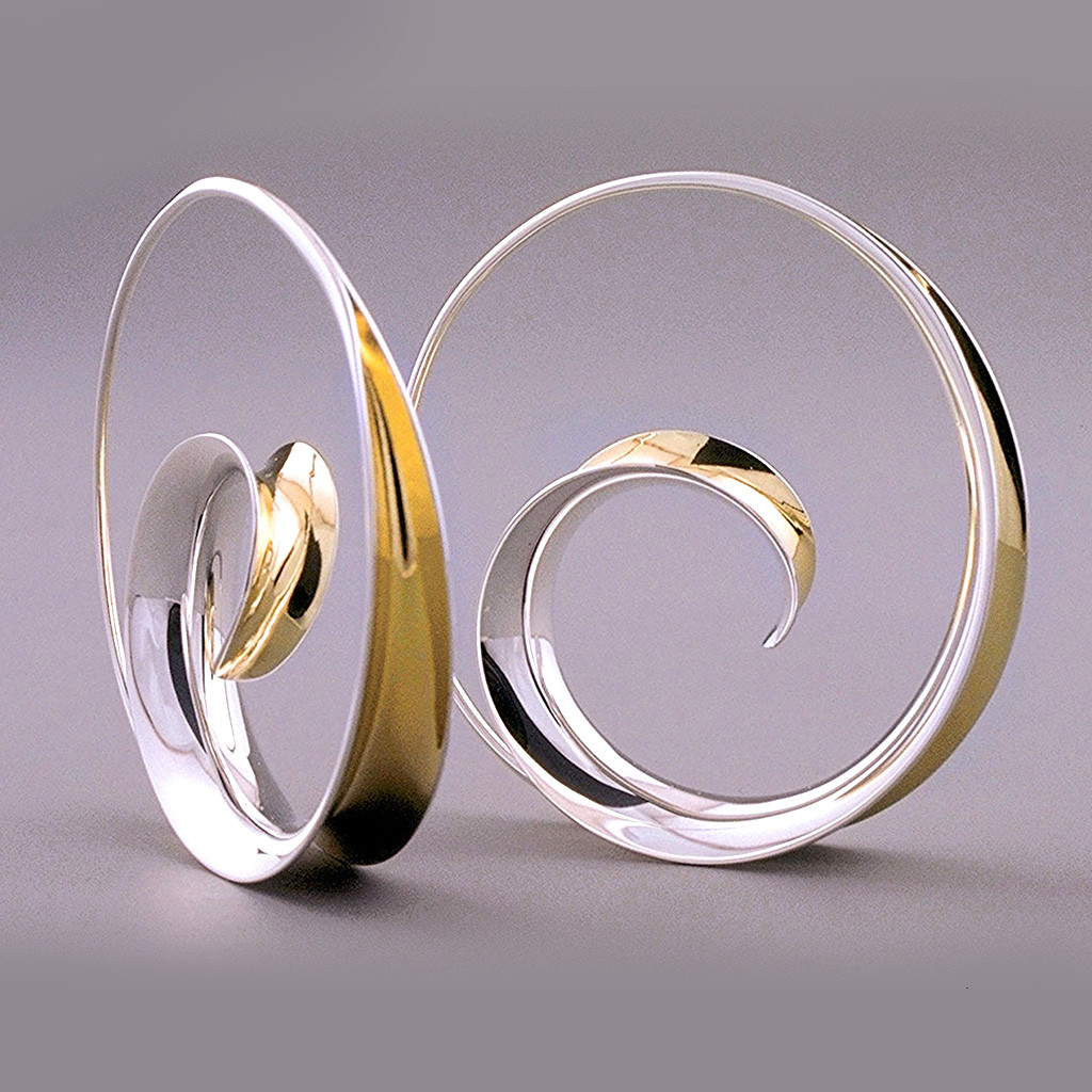 e3a99af4e Large Spiral Hoops on Model by Nancy Linkin, Contemporary Jewelry. See 2  more pictures