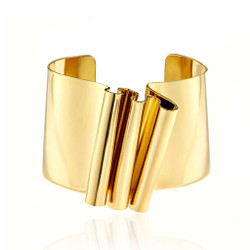 Gold Plated Crumpled Cuff | Modern Art Jewelry by Mia Hebib