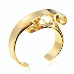 Gold Plated Knotted Cuff | Modern Art Jewelry by Mia Hebib