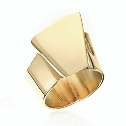 Gold Plated Building Block A Ring | Modern Art Jewelry by Mia Hebib