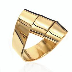 Gold Plated Torchietti Ring | Modern Art Jewelry by Mia Hebib