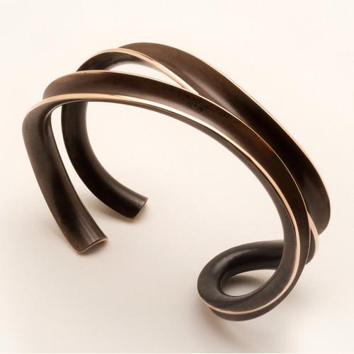 Paralell Weave Bronze Bracelet, Contemporary Jewelry by Nancy Linkin