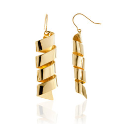 Gold Plated Wind Earrings | Modern Art Jewelry by Mia Hebib
