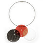 Black, Red and White Round Mesh Suspendos by David LaPlantz