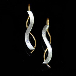 Oscillate earrings with gold wire, Contemporary Jewelry by Maressa Tosto Merwarth