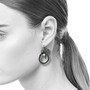 Black Rock Cluster Loop Earrings on Model, Handmade Contemporary Jewelry by Liaung-Chung Yen