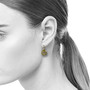 Rock Shaped Dangle Earrings on Model, Contemporary Jewelry by Liaung-Chung Yen