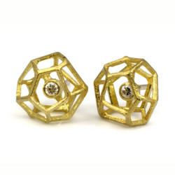Rock Shaped Diamond Studs, Contemporary Jewelry by Liaung-Chung Yen