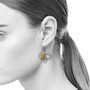 Open Frame Flourishing Earrings on Model, Handmade Art Jewelry by Liaung-Chung Yen