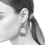 Rock Cluster Loop Earrings on Model, Contemporary Jewelry by Liaung-Chung Yen