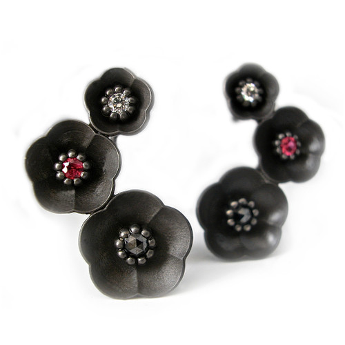 Cherry Blossom Climbing Earrings, Modern Designer Jewelry by Catherine Iskiw