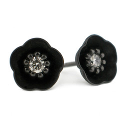 Small Black Cherry Blossom Studs, Modern Jewelry by Catherine Iskiw