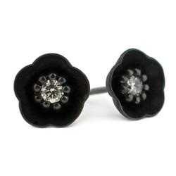 Small Black Cherry Blossom Studs, Modern Jewelry by Catherine Iskiw