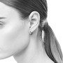 Small Reversible Everyday Diamond Hoops on Model, Contemporary Jewelry by Catherine Iskiw