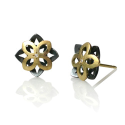 Small Star Studs, Modern Art Jewelry by Keiko Mita