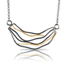 Barb's Wave Necklace, Modern Art Jewelry by Lori Gottlieb